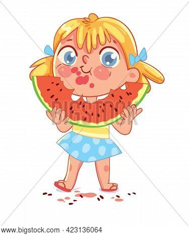 Girl Is Eating A Big Slice Of Watermelon And Spits Seeds. Child Has Smeared His Face And Clothes. Fu