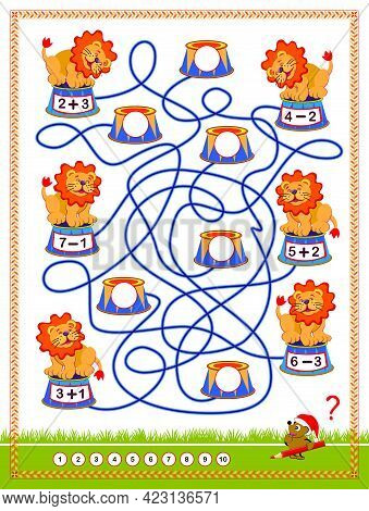 Math Education For Children On Addition And Subtraction. Where Should Every Lion Jump? Find The Way.