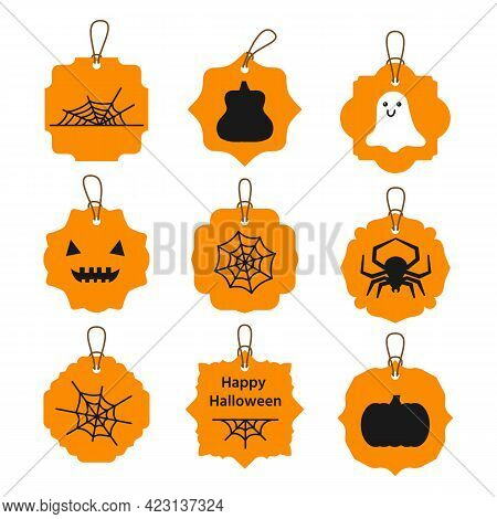 Stickers Set With Spider, Cobweb Variations, Two Pumpkin Different Shapes, Cute White Ghost, Muzzle,