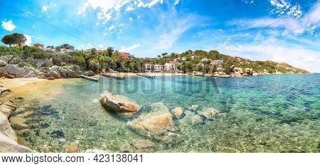 Marvelous View Of  Beach On Porto Rafael Resort. Picturesque Seascape Of Mediterranean Sea. Location