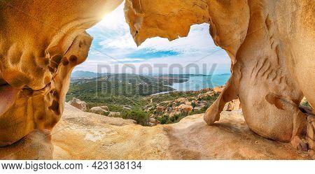 Fantastic View On Palau  From Popular Travel Destination Bear Rock (roccia Dell'orso). Location: Pal