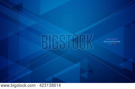 Geometric Abstract Background. Blue Triangle Shapes With Lines Stripe And Light Composition. Modern