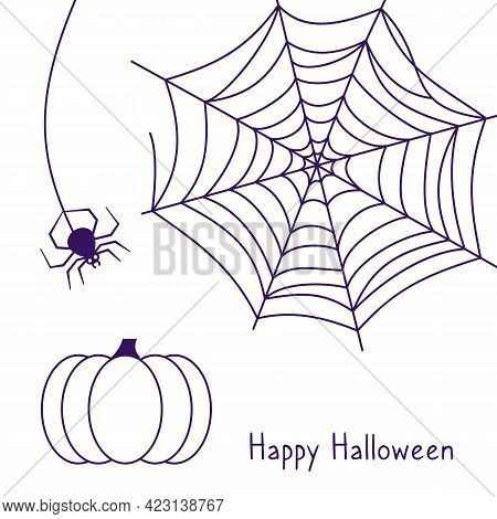 Spider Web And Hanging Spider, Festive Pumpkin. Happy Halloween Linear Blue Card With Words. Decorat