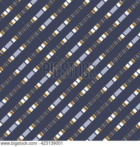 Masculine Broken Stripe Seamless Pattern. Classic Retro Line For Digital Scrapbook Paper And Repeata