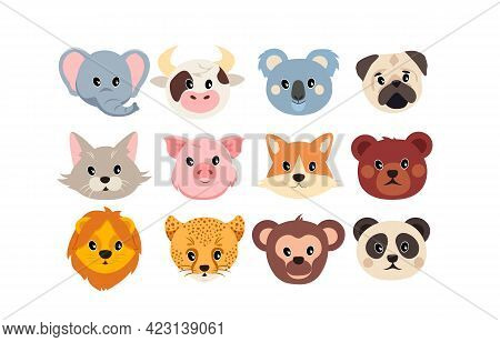 Set Of Cute Adorable Funny Animal Faces Isolated On White Background. Concept Of Cute Stickers For L