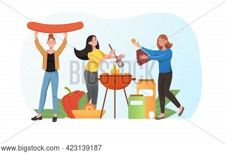 Three Female Characters Are Enjoing Outdoor Bbq Party. Group Of Friends Is Grilling Sausages And Veg