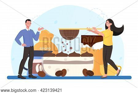 Smiling Male And Female Characters Are Cooking Tiramisu Dessert Together. Concept Of People Cooking