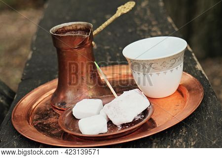 Turkish Coffee And Turkish Delight With Traditional Embossed Metal Tray. Table Set With Greek Or Tur