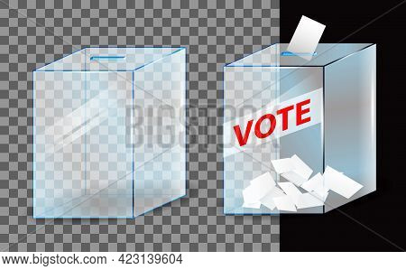 Voting Paper Inserted To Vote Box Concept. Eps Vector