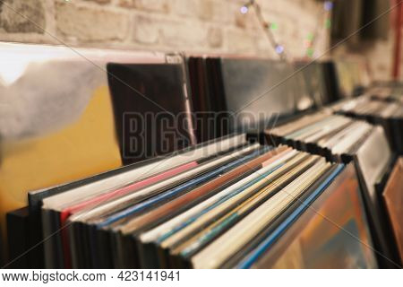 Many Different Vinyl Records In Store, Closeup