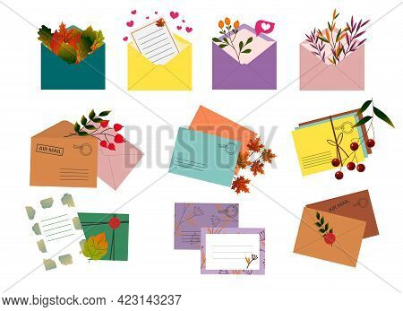 Set Of Postal Envelopes With Autumn Leaves. Vector Illustration. For Creating Decor In The Interior,