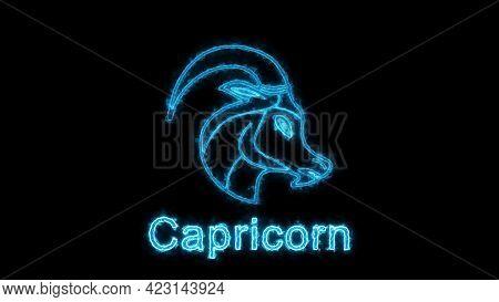 The Capricorn Zodiac Symbol, Horoscope Sign Lighting Effect Blue Neon Glow. Royalty High-quality Fre
