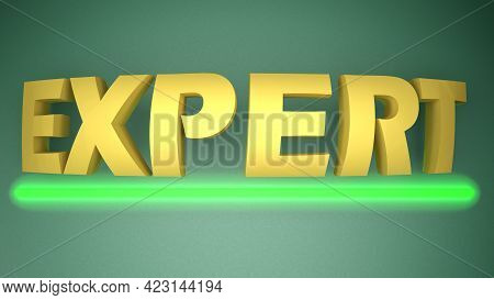 Expert Yellow Write With A Green Lighted Up Horizontal Underline, Over A Green Background - 3d Rende