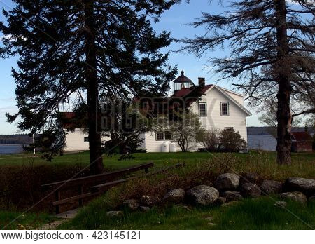 Fort Point Lighthouse, Stockton Springs, Maine.  Located On The Grounds Of Fort Pownall.
