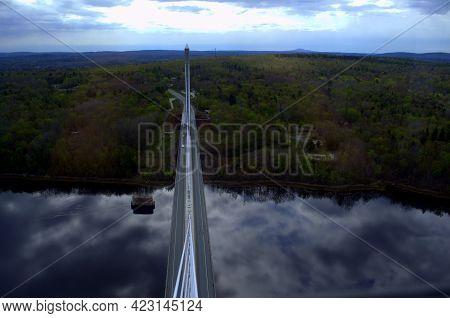 Skyview From The Penobscot Narrows Bridge Observatory.  Bridge Overlooks The Penobscot River.  Locat