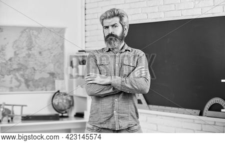 Science And Education. Teacher Of Geography. Man Stand At Blackboard. Stem Education Concept. Study