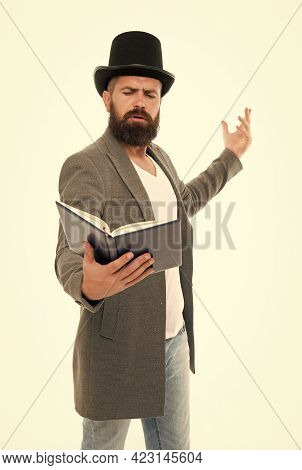 Literary Criticism. Faced With Senseless Drama. Eloquence And Diction. Bearded Man Read Book. Poetry