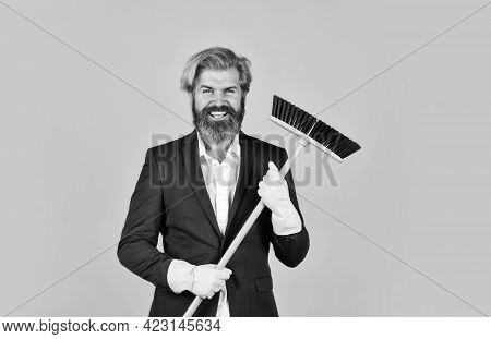 Sweep In Office. Hipster Enjoy Cleanliness. On Guard Of Order. Cleaning Day. Cleaning Business. Hous