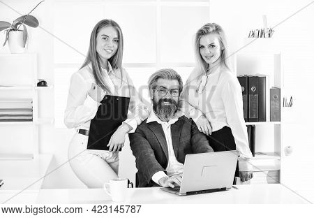 Man And Women Business Colleagues. Office Flirt. Career Company. Flirting And Seduction. Flirting Wi