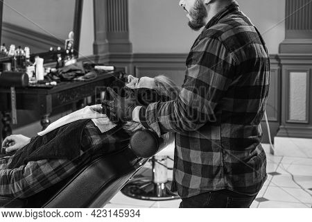 Beard Man. Designing Haircut. Barber Tools In Barbershop. Handsome Hairdresser Cutting Hair Of Male