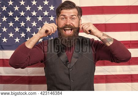 Bearded Hipster Man Being Patriotic For Usa. American Education Reform At School In July 4. American