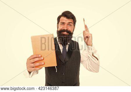 Inspired Bearded Man Hold School Book Raising Writing Pen Isolated On White, Inspiration For Educati