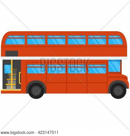 London Double Deck Bus Vector Icon Isolated On White