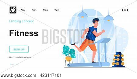 Fitness Web Concept. Man Running On Treadmill In Gym. Sport Exercising, Cardio Workout, Training. Te