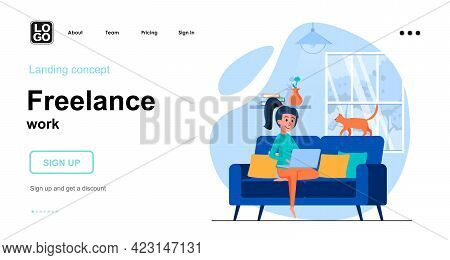 Freelance Work Web Concept. Woman Freelancer Works On Laptop From Home Office. Remote Worker. Templa