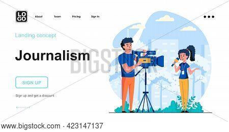Journalism Web Concept. Woman Reporting, Man Recording On Camera. News Program, Mass Media And Press