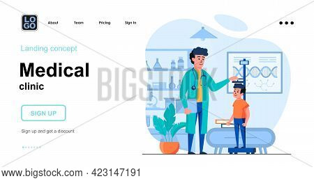 Medical Clinic Web Concept. Pediatrician Measures Boy Height At Office. Child Patient Visits Doctor.