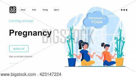 Pregnancy Web Concept. Pregnant Women Do Yoga, Practice Lotus Position And Meditate Relaxation. Temp