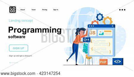 Programming Software Web Concept. Woman Develops Layout Of Program, Creates Application Interface. T