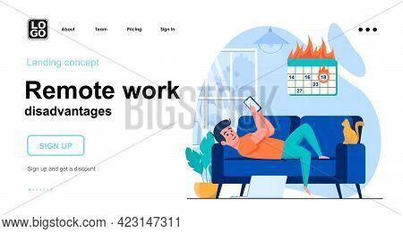 Remote Work Disadvantages Web Concept. Man Procrastinates Using Smartphone And Work Deadline Is On.