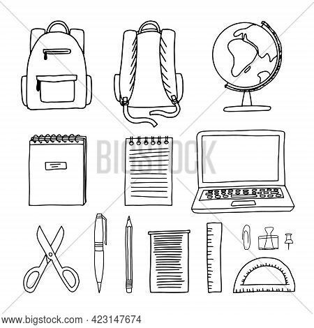 Hand Drawn Doodle Sketch Style Vector Illustration Of Of School And Office Supplies Around A Backpac