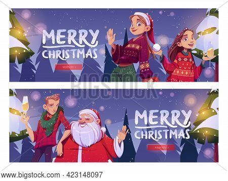 Merry Christmas Cartoon Banner, Santa Claus And Man, Girls With Champagne Glass Stand On Winter Fore