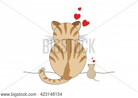 Cat And Rat Vector Illustration On White Background. Show Love Between Cats And Mice That Were Once