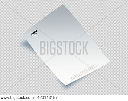 Blank Sheet Of Paper With Page Curl And Shadow, Design Element For Advertising And Promotional Messa