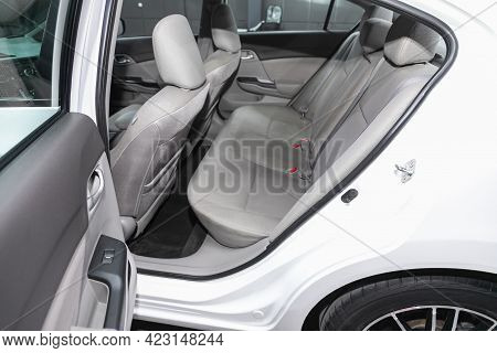 Novosibirsk, Russia - June 08, 2021: Honda Civic, Close-up Of The Gray  Rear Seats With Seats Belt.