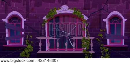 Ivy On Antique Abandoned Building Facade, Vines With Green Leaves Climbing At Boarded Up Windows And