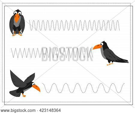 Handwriting Training Game For Kids, Point To Point, Crow, Halloween. Vector Isolated On A White Back