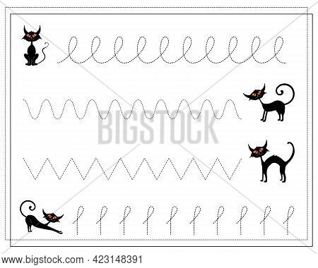 Handwriting Training Game For Kids, Point To Point, Black Cats, Halloween. Vector Isolated On A Whit