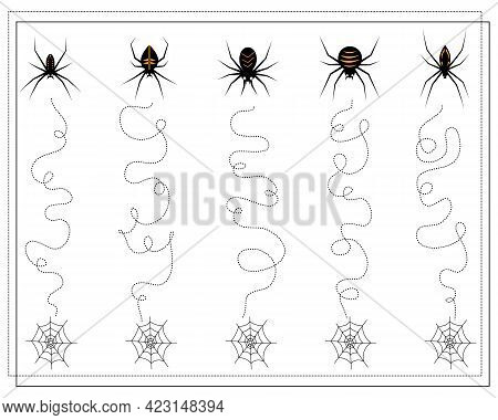 Handwriting Training Game For Kids, From Point To Point, Spiders Go Down To The Web, Halloween. Vect