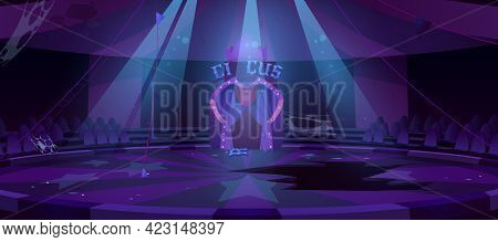 Old Circus Arena At Night, Abandoned Round Stage For Performance, Carnival Show. Vector Cartoon Empt
