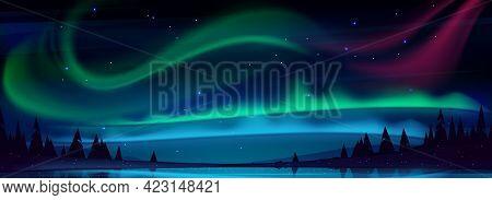 Arctic Aurora Borealis Over Night Lake In Starry Sky, Polar Lights Natural Landscape. Northern Amazi