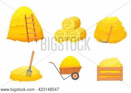 Set Of Dry Bale Of Hay With Ladder, Wooden Box, Scythe, Pitchfork In Cartoon Style Isolated On White