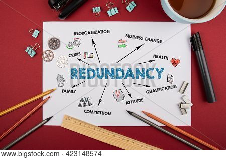 Redundancy. Crisis, Business Change, Health And Competition Concept. Red Table With Office Supplies