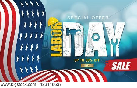 Labor Day Sale Promotion Advertising Banner Template Decor With American Flag .american Labor Day .v