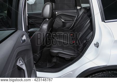 Novosibirsk, Russia - June 08, 2021: Ford Kuga, Close-up Of The Black  Rear Seats With Seats Belt.