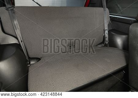 Novosibirsk, Russia - June 08, 2021: Niva 4*4, Close-up Of The Black  Rear Seats With Seats Belt.